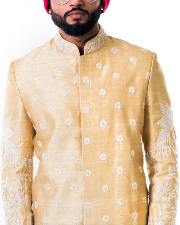 Off-white thread work embroidery sherwani set 3