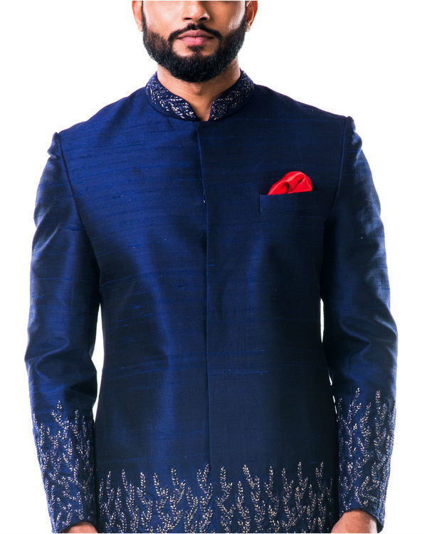 Midnight blue hand embroidered thread work sherwani set 3