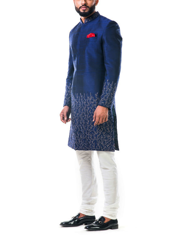 Midnight blue hand embroidered thread work sherwani set 2