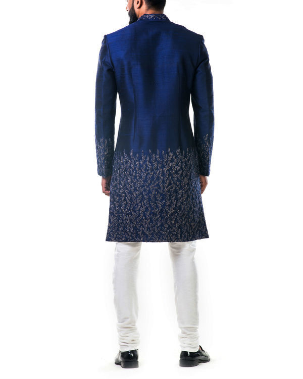 Midnight blue hand embroidered thread work sherwani set 1