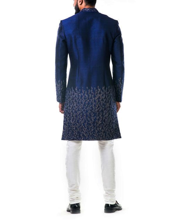 Midnight blue hand embroidered thread work sherwani set 3