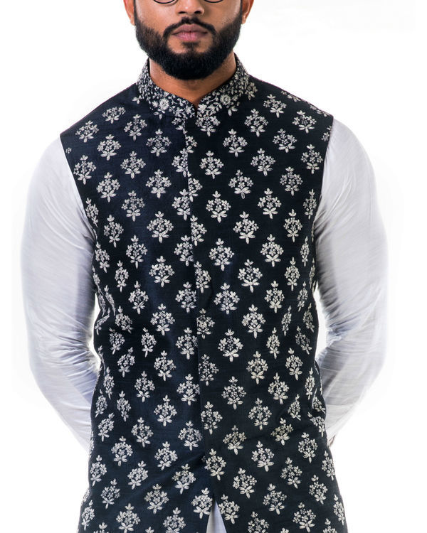 Black silk nehru jacket with white  cord floral embroidery 3