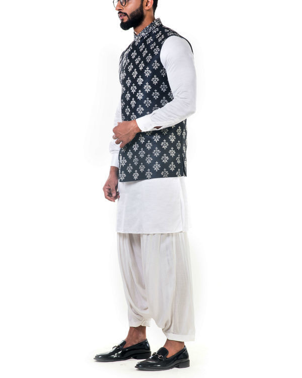 Black silk nehru jacket with white  cord floral embroidery 2