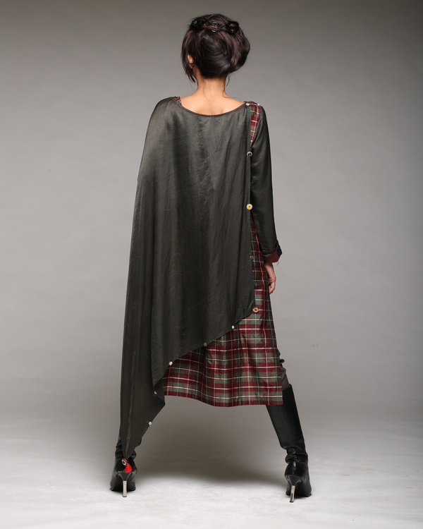 A line shift dress with attached scarf and pants 1