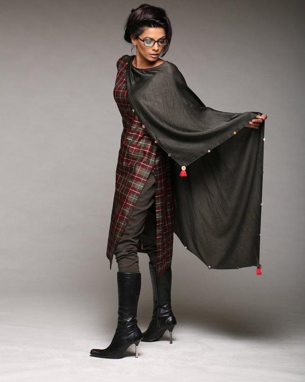 A line shift dress with attached scarf and pants 2