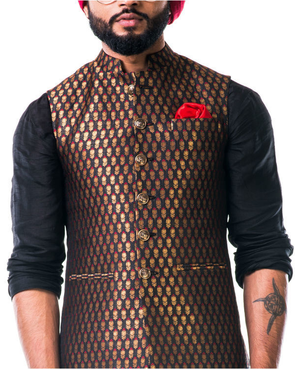Black cowl kurta set with a black brocade nehru jacket with golden floral motifs 1