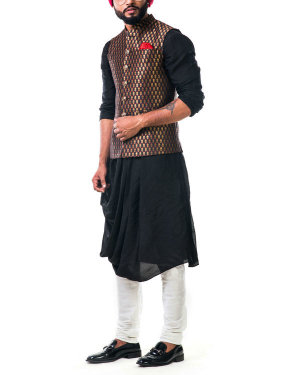 Black cowl kurta set with a black brocade nehru jacket with golden floral motifs 2