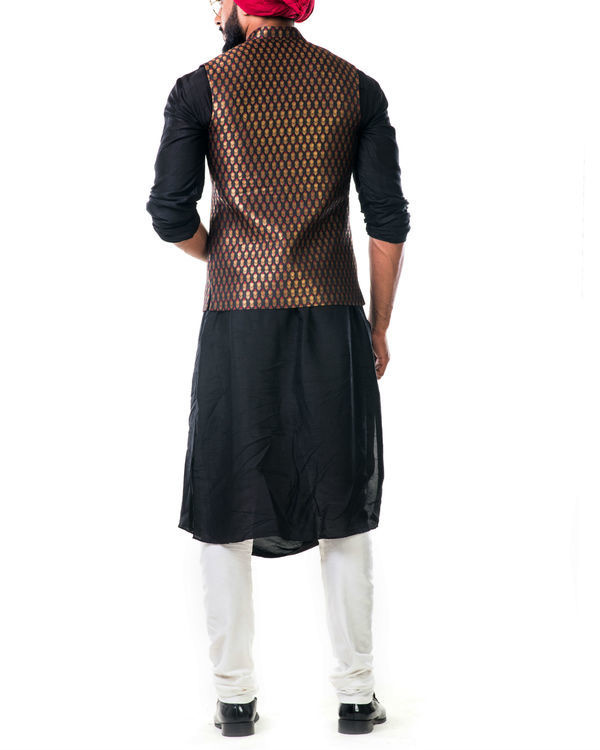 Black cowl kurta set with a black brocade nehru jacket with golden floral motifs 1