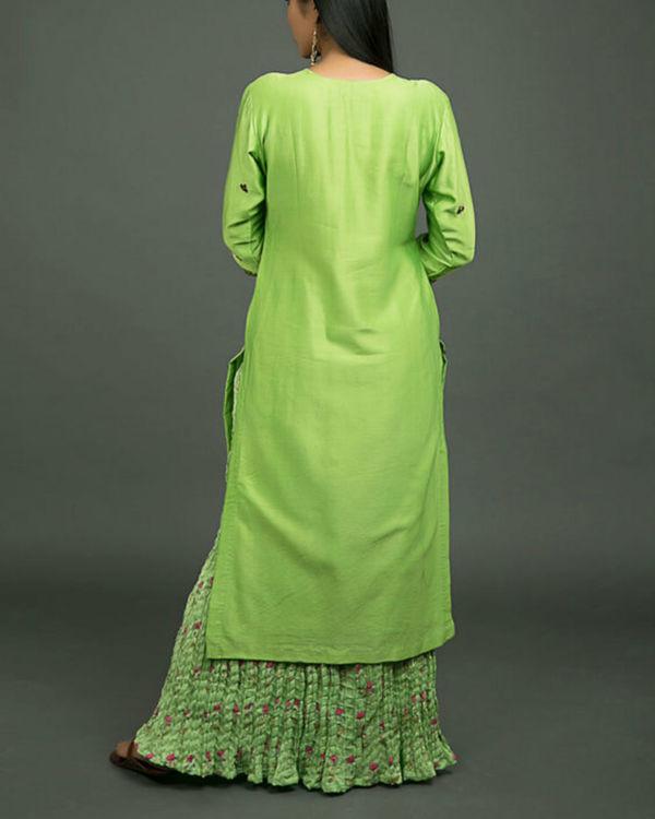 Hara peshawari embroidered kurta set with lime green dupatta 2