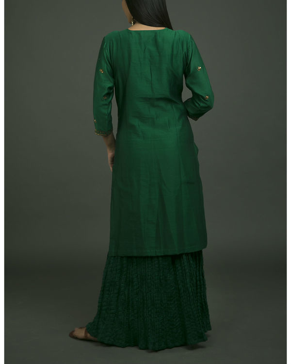 Hazrat begum embroidered kurta set with green chiffon dupatta 3