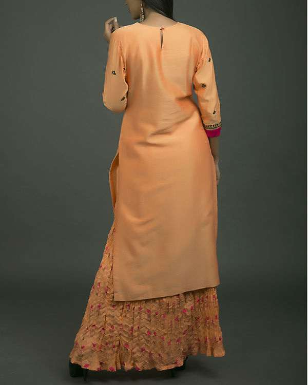 Gulaabi baagh embroidered kurta set with orange dupatta 3