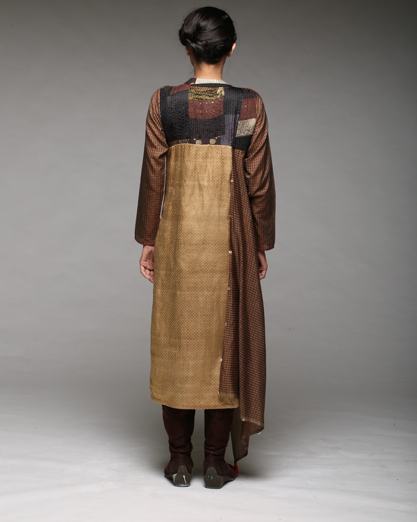 Draped yoke kurta with pants 1