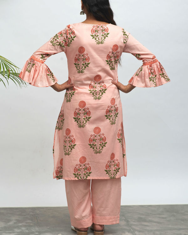 Tea party hand block printed kurta pant set 2