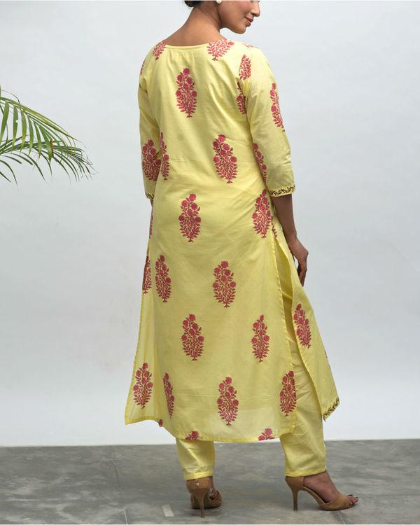 Sunflower hand block printed kurta pant set 1