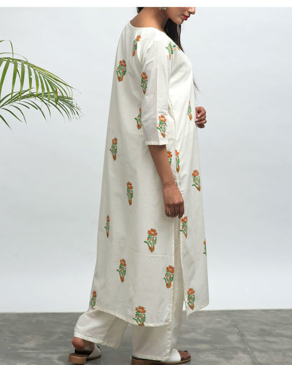 Nilofer hand block printed kurta pants set 1