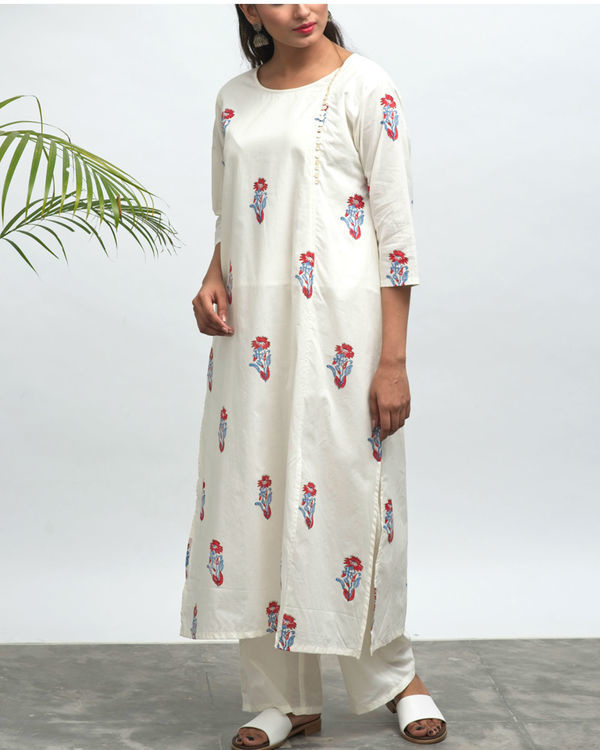 Koi hand block printed kurta pants set 3