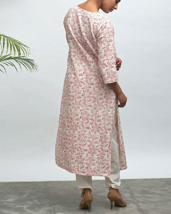 Red ink hand block printed kurta 2