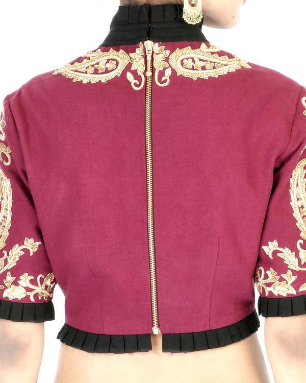 Maroon elbow sleeves embroidered crop top 1