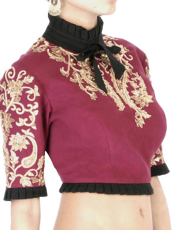 Maroon elbow sleeves embroidered crop top 2