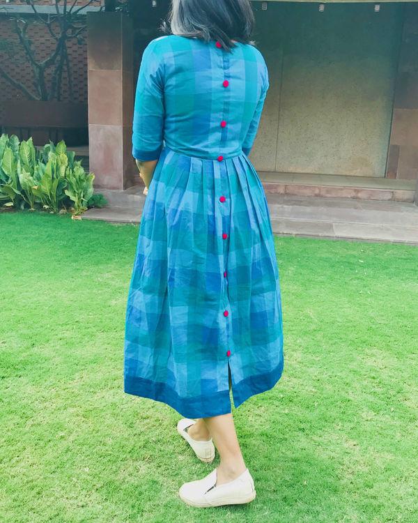 Shades of blue checks dress 2