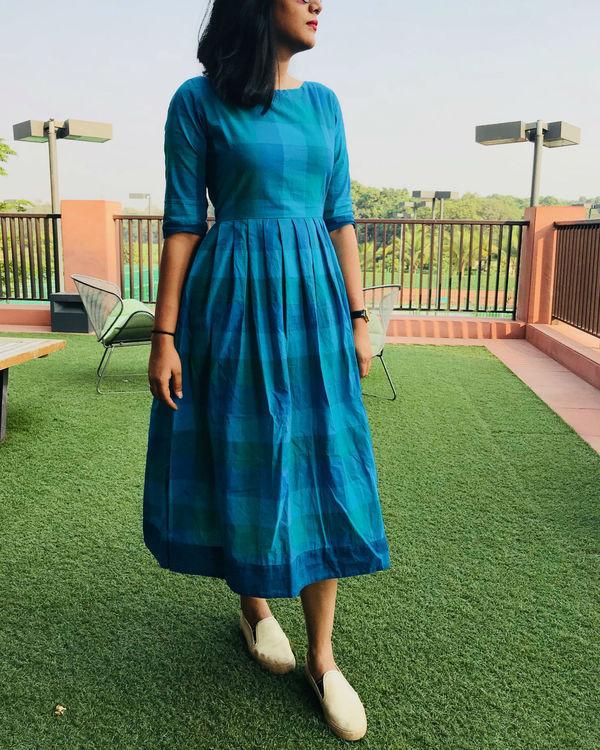Shades of blue checks dress 1