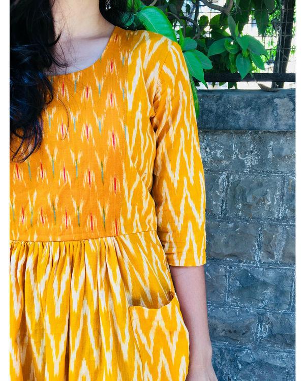 Mustard and white zigzag dress 1