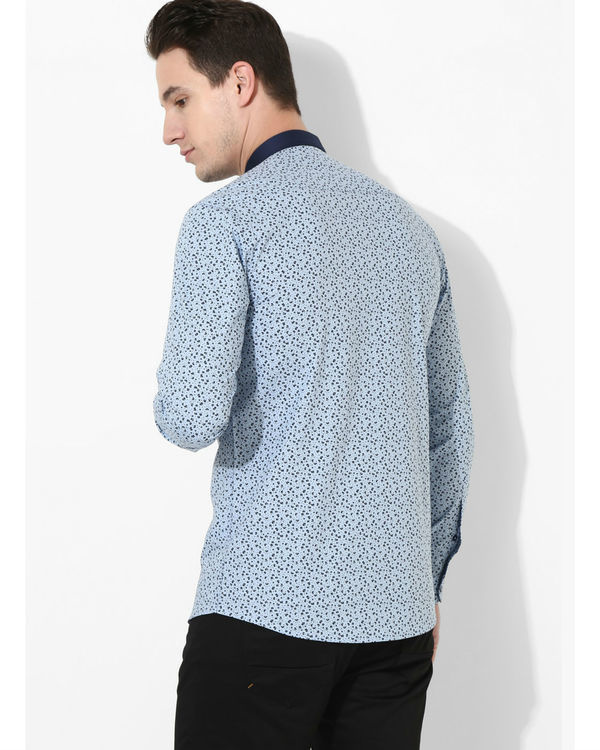 Printed Sky Blue Golden Button Shirt 2