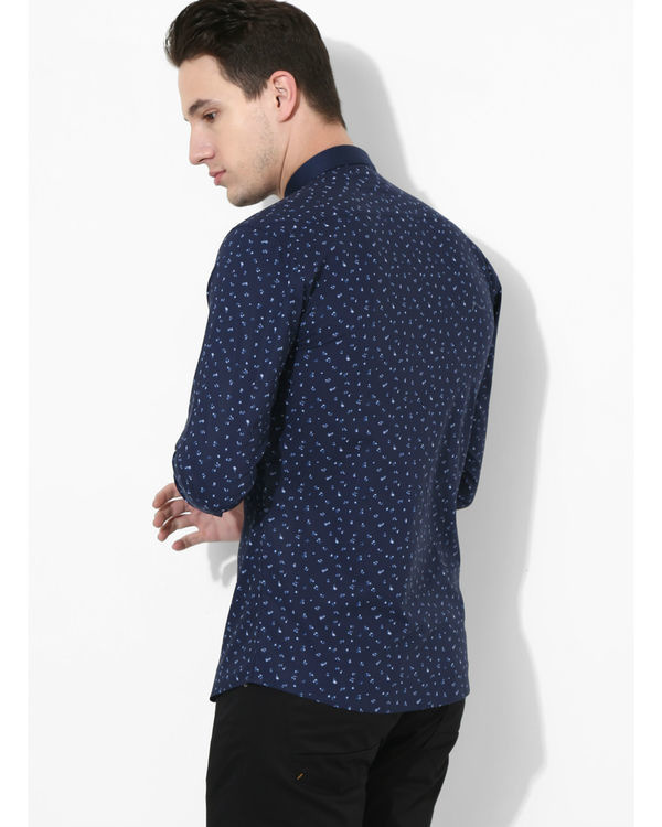 Printed Navy Blue Golden Button Shirt 2