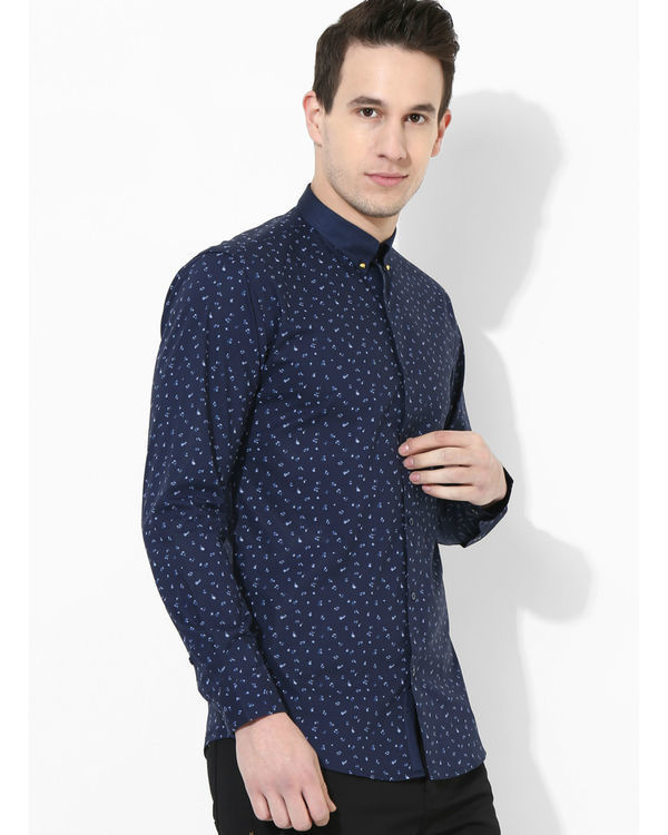 Printed Navy Blue Golden Button Shirt 1
