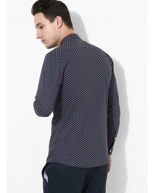 Printed Navy Blue & Orange Shirt 2
