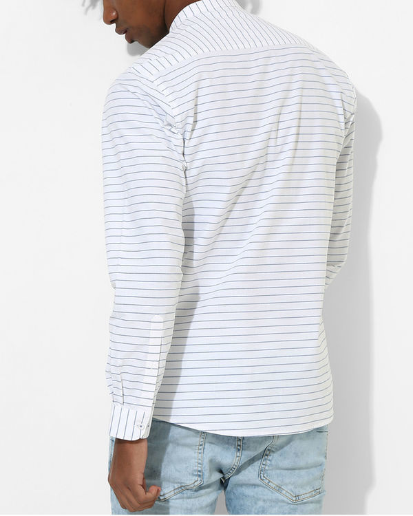 White & blue striped shirt 1