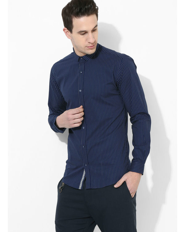 Navy blue striped shirt 1
