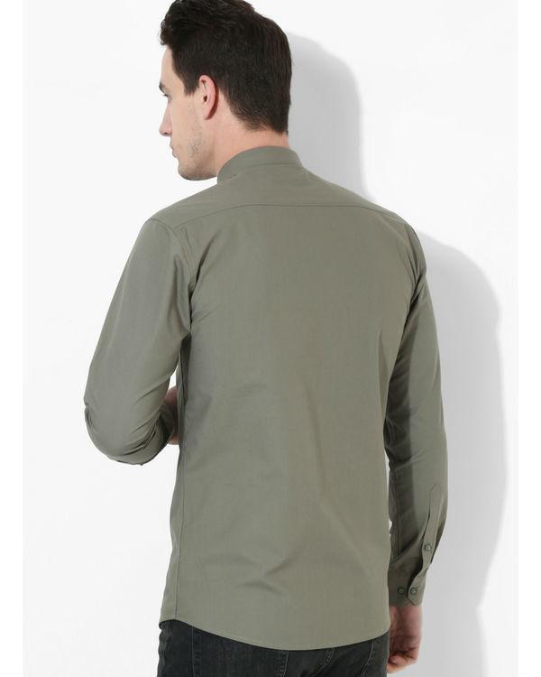 Olive Panelled Checks Shirt 2