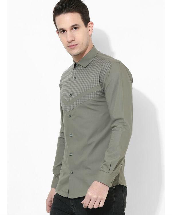 Olive Panelled Checks Shirt 1