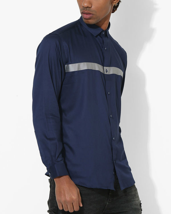 Navy blue grey panel stripe shirt 2