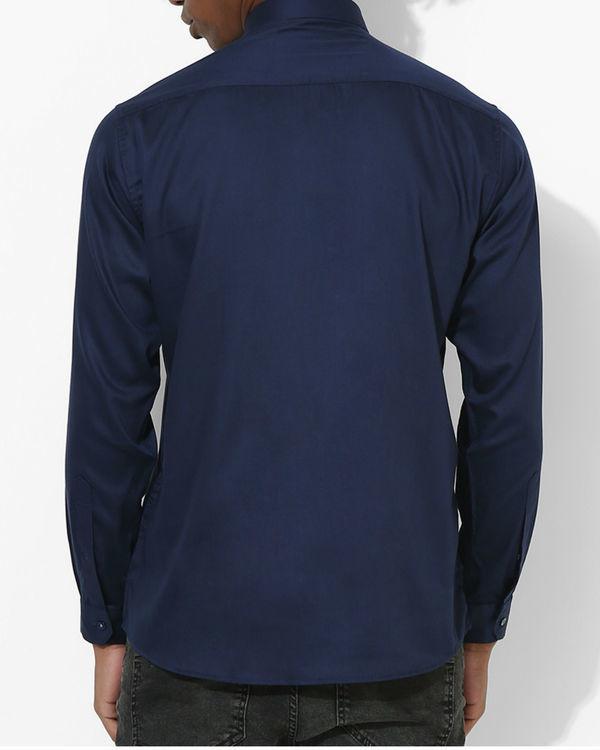 Navy blue grey panel stripe shirt 1