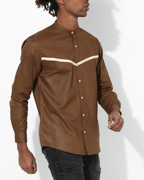 Brown beige panel stripe shirt 2