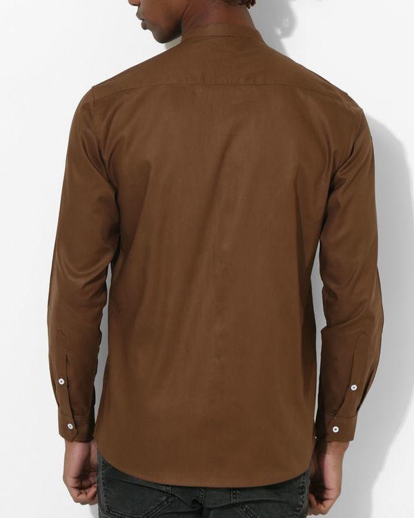 Brown beige panel stripe shirt 1
