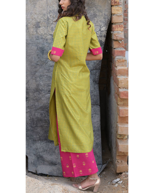 Mint gold  kurta with pink palazzo set 1