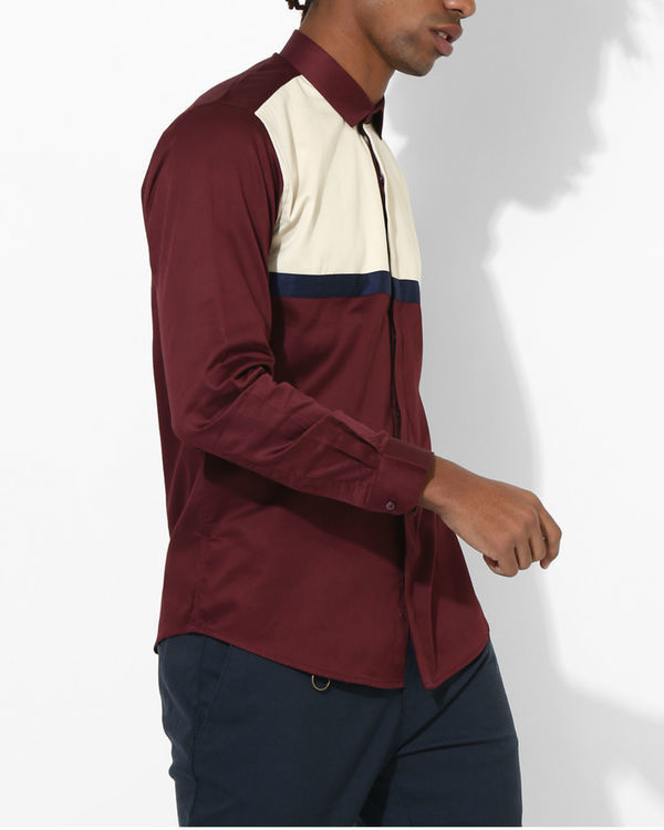 Maroon duo panel shirt 2
