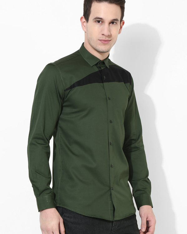 Olive and black sharp cut shirt 2