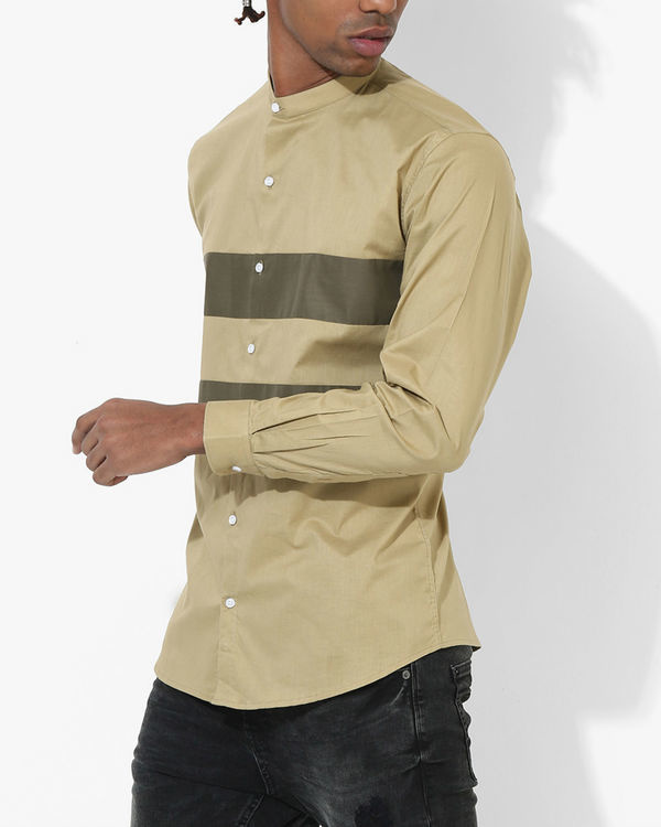 Beige Olive Two Stripe Shirt 2