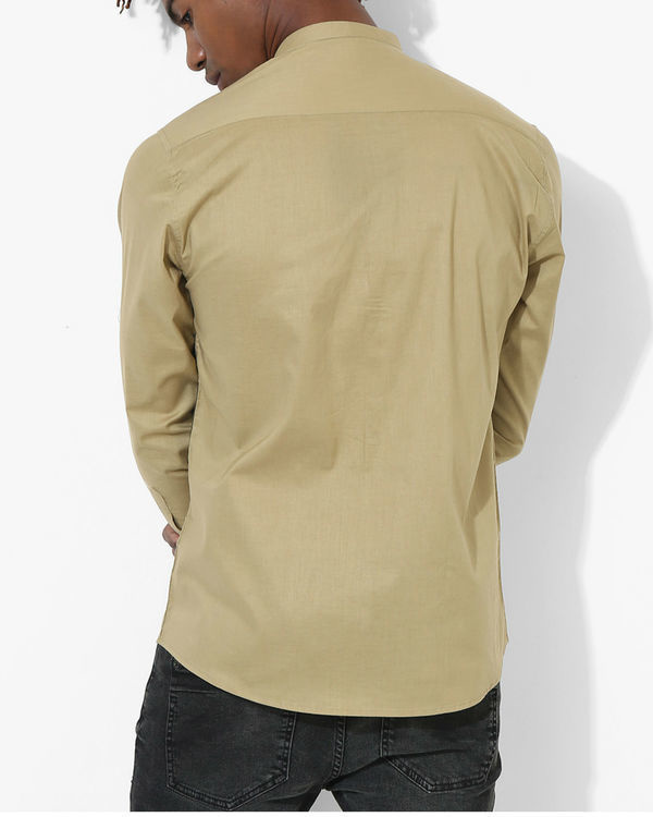 Beige Olive Two Stripe Shirt 1