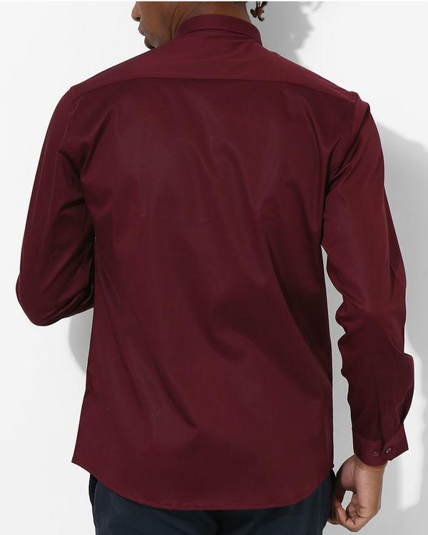 Maroon Beige stripe Shirt 1