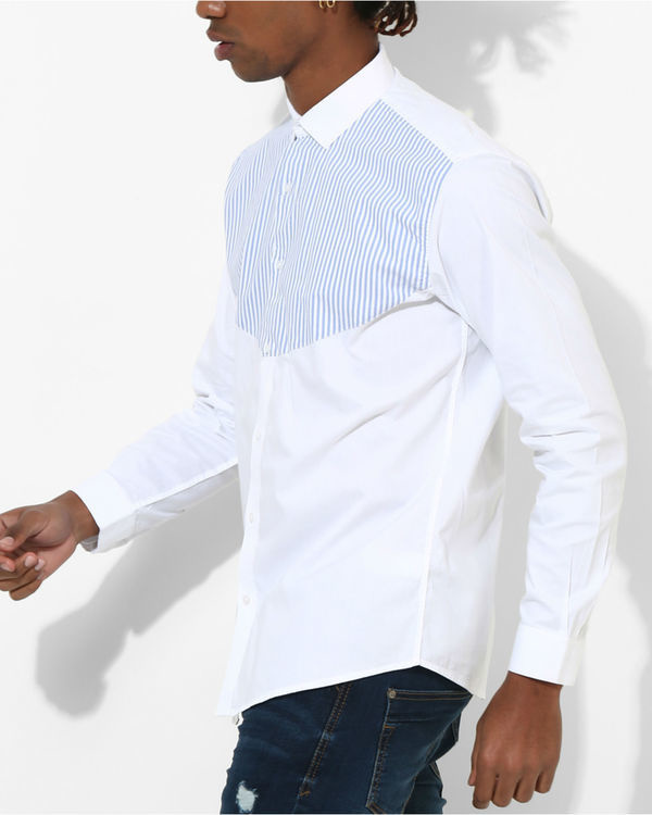 White & Blue Stripes Shirt 2