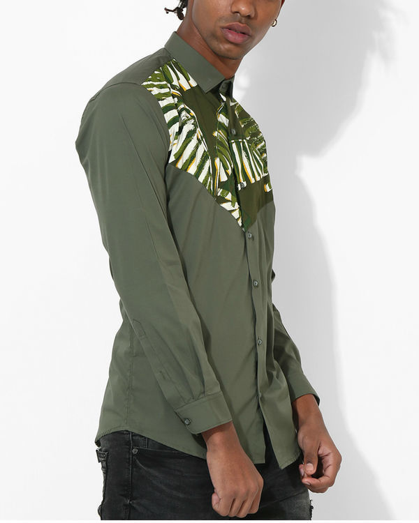 Olive Tropical panel shirt 2