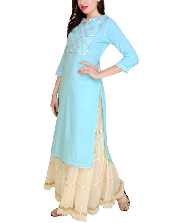 Sky blue kurta sharara set 3