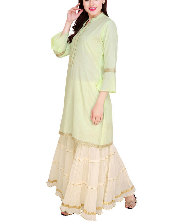 Mint and off white sharara set 3