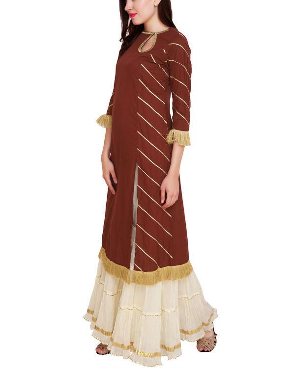 Marsala tunic with off white sharara 3