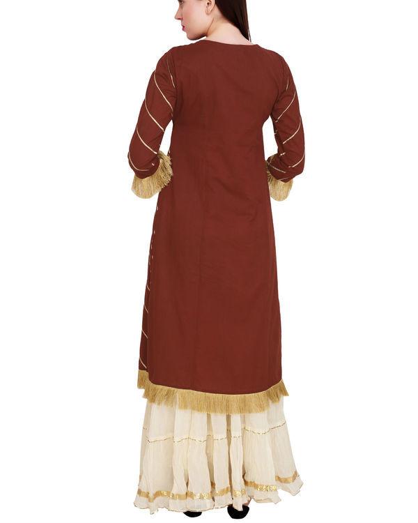 Marsala tunic with off white sharara 2
